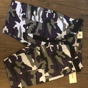 Oversized purple camo shorts